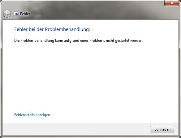 Die Problembehandlung kann aufgrund eines Problems nicht geöffnet werden (Screenshot)